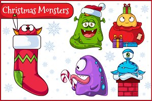 Christmas Vector Monsters Set 1