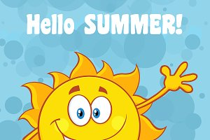 Happy Sun With Text Hello Summer