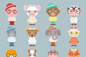 Geek hipster cute animal
