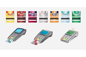 Credit Card Icon and POS terminal Isolated on white