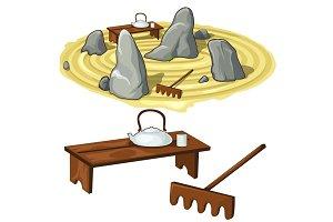 Japanese zen garden stones and utensils