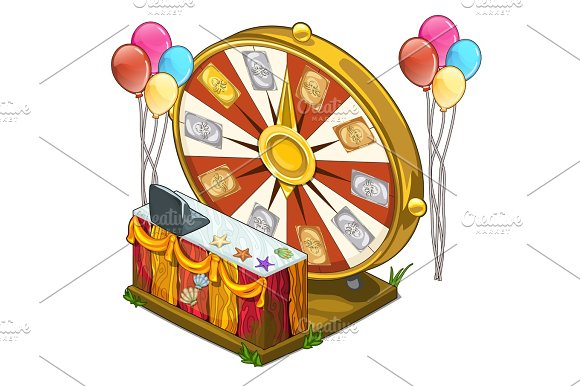 Festive Wheel Of Fortune With Colorful Balloons