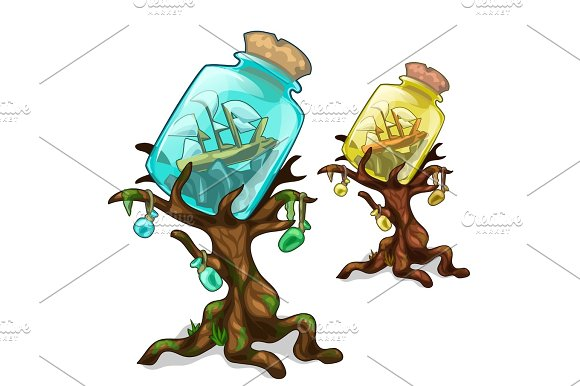 Trees With Bank Marine Concept