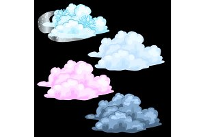 Four cloud different colors, storm cloud and snow