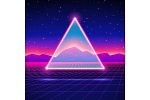 Retro futuristic landscape with triangle and shiny grid