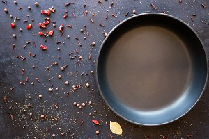 empty frying pan and spices