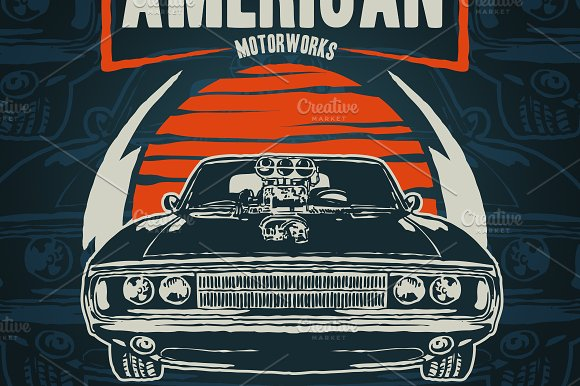 American Muscle Car Illustrations Creative Market