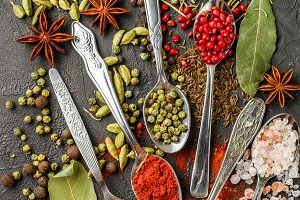 condiments and spices in the spoons