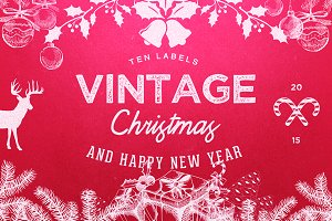 10 Logo Vintage Christmas / New Year