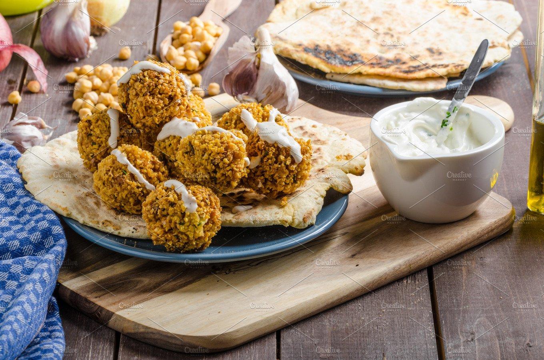 Falafel fried on naan bread ~ Food & Drink Photos ...