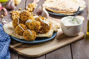 Falafel fried on naan bread