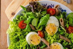Fresh pasta egg salad
