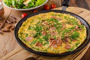 Ham and egg omelette