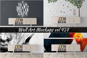 Wall Mockup - Sticker Mockup Vol 437