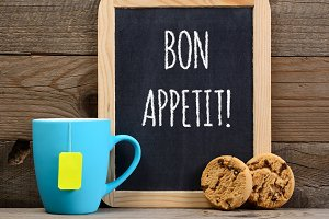 Tea, cookies and wishes bon appetit