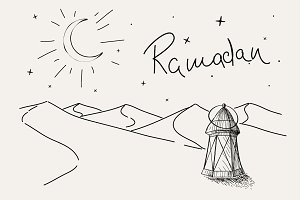 lantern stands in the desert.
