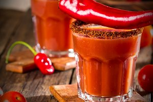 Spicy bloody Mary with chile