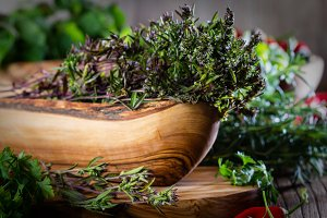Fresh herbs - thyme, mint, rosemary