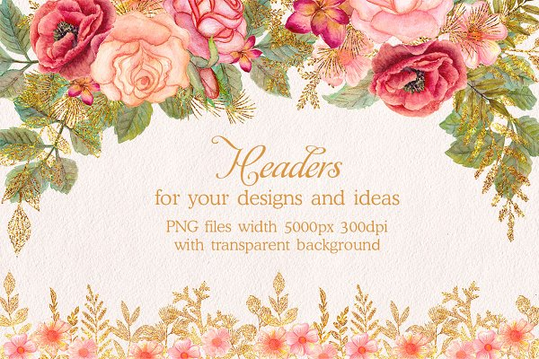 Watercolor glitter floral headers