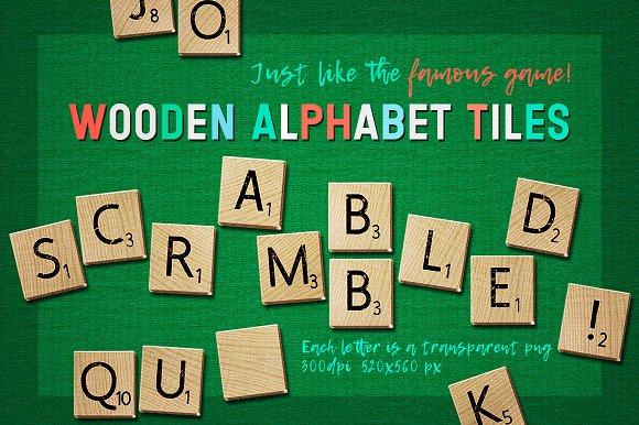 Wooden Alphabet Letter Tiles