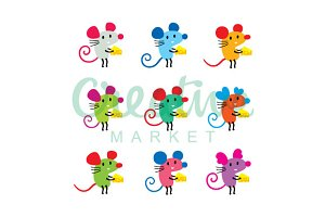 Cute Mouse Vector Set