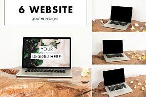 Mac Laptop Mockup PSD Wood Desk