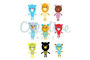 Cute Teddy Bear Vector Set