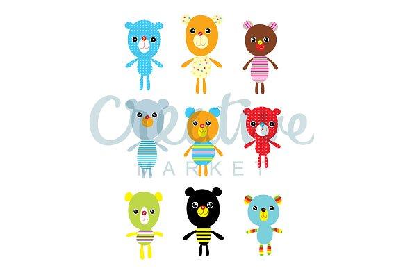 Cute Teddy Bear Vector Set