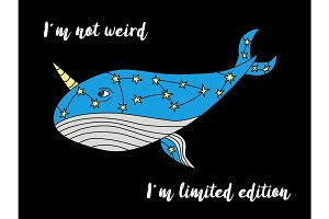Cute hand drawn cartoon character of narwhal whale with motivation lettering