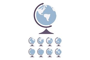 World Globe on stand and set spin in different sides