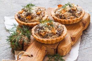 tarts with fresh seasonal mushrooms