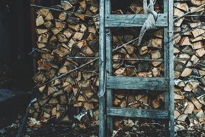 Firewood stock with stepladder