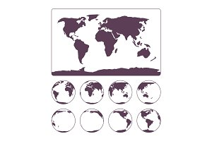 World Map projection showing surface of the Earth and globe