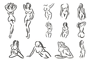 Woman figure logo set