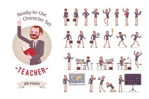 Ready-to-use male teacher character set, different poses and emotions
