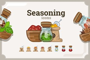 Seasoning icons set (3 variants)