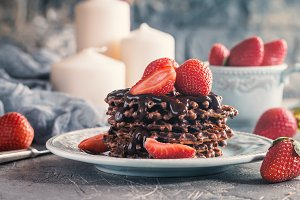 Waffle dessert with chocolate