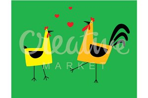 Cute Chicken Couple Vector