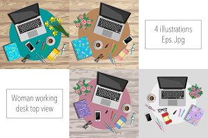 4 eps+jpg of woman working desk