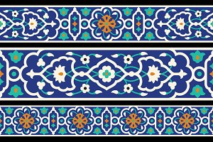 3 Arabic Floral Seamless Borders