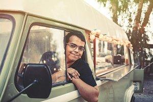 Man in a vintage food truck