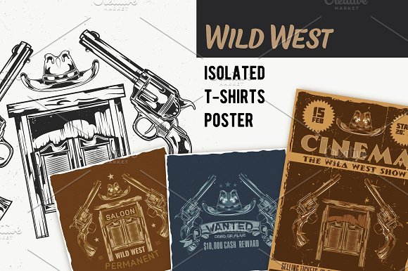 Wild West T-shirts And Poster Labels