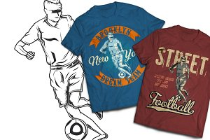 Football T-shirts And Poster Labels