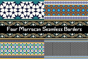 4 different Morocco Seamless Borders