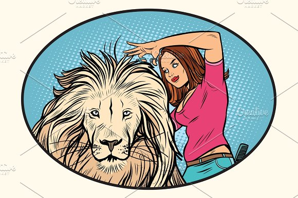 Female Stylist Hairdresser Cuts The Mane Of A Lion
