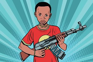 African boy with AKM automatic weapons