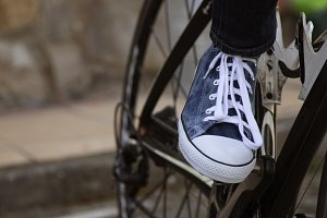closeup of the foot on the pedal bicycle, sport and transport