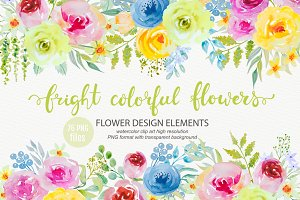 Bright watercolor flowers clipart