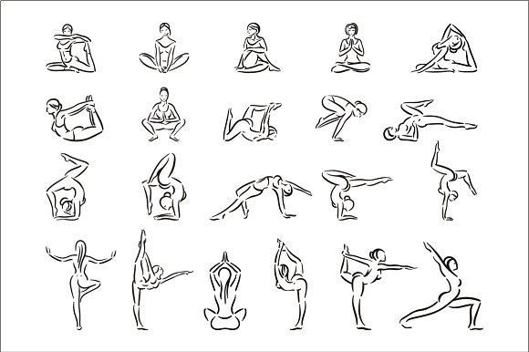 Yoga woman illustration set