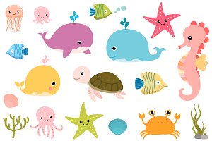 Cute sea animals clipart set
